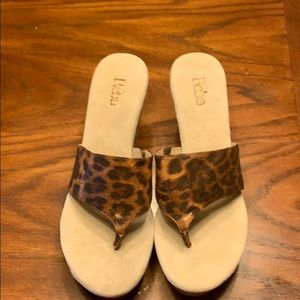 Reba animal print leather wedges